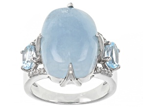 Blue Aquamarine Rhodium Over Sterling Silver Ring 1.11ctw