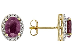 Red Ruby 18K Yellow Gold Over Silver Stud Earrings 2.27ctw