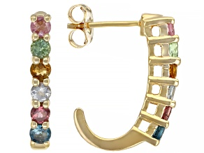 Multicolor Tourmaline 18K Yellow Gold Over Sterling Silver Earrings 1.20ctw