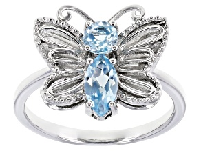 Blue Topaz Rhodium Over Sterling Silver Butterfly Ring 0.87ctw