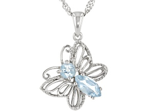 Blue Topaz Rhodium Over Sterling Silver Butterfly Pendant With Chain  0.87ctw
