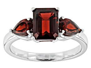 Red Garnet Rhodium Over  Sterling Silver 3-Stone Ring 2.91ctw