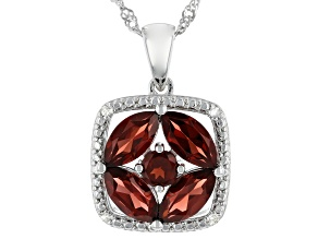 Red Garnet Rhodium Over Sterling Silver Pendant With Chain 2.87ctw