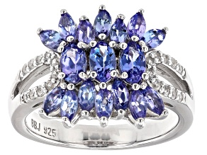 Blue Tanzanite Rhodium Over Sterling Silver Ring 1.54ctw
