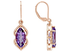 Purple Amethyst 18K Rose Gold Over Sterling Silver Dangle Earrings 4.17ctw