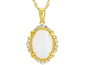 White Lab Created Opal 18k Yellow Gold Over Sterling Silver Pendant Chain 0.37ctw