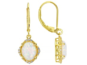 White Lab Created Opal 18k Yellow Gold Over Silver Dangle Earrings 0.19ctw