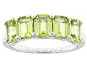 Green Peridot Rhodium Over Sterling Silver Ring 2.42ctw