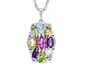 Pink Lab Created Sapphire Rhodium Over Silver Pendant With Chain 3.75ctw