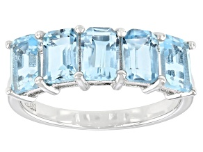 Blue Topaz Rhodium Over Sterling Silver Ring 3.19ctw
