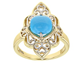 Blue Turquoise 18K Yellow Gold Over Sterling Silver Two Tone Ring
