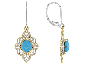 Blue Sleeping Beauty Turquoise 18K Yellow Gold Over Sterling Silver Two Tone Earrings