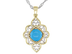 Blue Sleeping Beauty Turquoise 18K Yellow Gold Over Sterling Silver Two Tone Pendant Chain