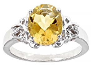 Yellow Citrine Rhodium Over Sterling Silver Ring 2.53ctw