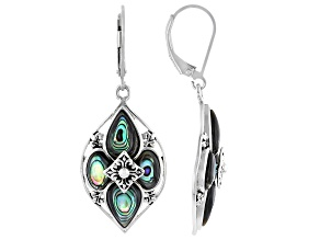 Multicolor Abalone Shell Rhodium Over Sterling Silver Earrings