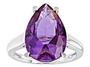 Purple Lab Created Color Change Sapphire Rhodium Over Silver Ring 5.61ct