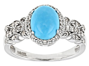 Blue Sleeping Beauty Turquoise Rhodium Over Silver Ring 0.29ctw