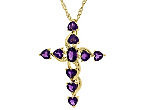 Purple Amethyst 18K Yellow Gold Over Silver Pendant With Chain 1.94ctw