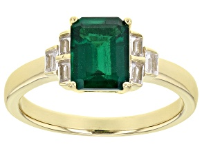 Green Lab Created Emerald 18K Yellow Gold Over Sterling Silver Ring 1.52ctw