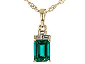 Green Lab Created Emerald 18k Yellow Gold Over Sterling Silver Pendant With Chain 1.32ctw