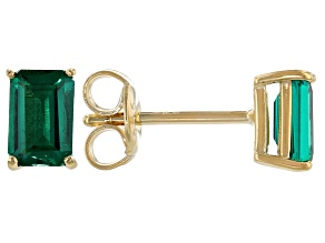 Green Lab Created Emerald 18K Yellow Gold Over Sterling Silver Stud Earrings 0.85ctw