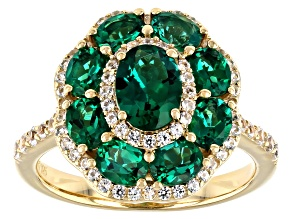 Green Lab Created Emerald 18K Yellow Gold Over Sterling Silver Ring 2.33ctw