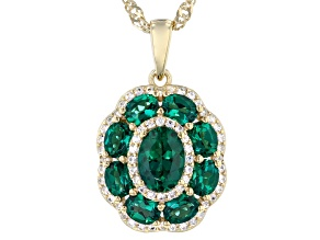 Green Lab Created Emerald 18K Yellow Gold Over Silver Pendant Chain 2.14ctw