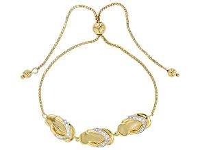 White Zircon 18k Yellow Gold Over Sterling Silver Flip-Flop Bolo Bracelet 0.10ctw