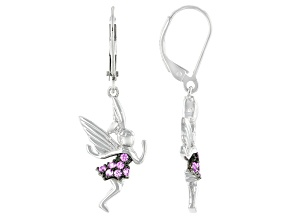 Pink Lab Created Sapphire Rhodium Over Sterling Silver Fairy Dangle Earrings 0.24ctw