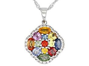 Multicolor Sapphire Rhodium Over Sterling Silver Pendant Chain 2.76ctw