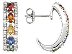 Multi Color Sapphire Rhodium Over Sterling Silver Earrings 2.28ctw