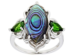 Multicolor Abalone Shell Rhodium Over Sterling Silver Ring 0.88ctw