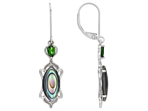 Multicolor Abalone Shell Rhodium Over Silver Earrings 0.44ctw