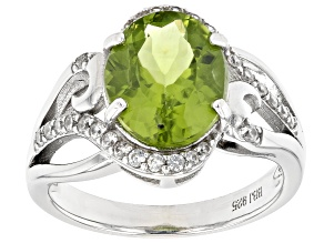 Green Peridot Rhodium Over Sterling Silver Ring 3.56ctw