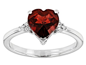 Red Garnet Rhodium Over Sterling Silver heart Ring 1.65ctw