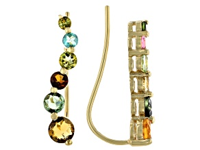 Multi Tourmaline 18K Yellow Gold Over Sterling Silver Earrings. 2.17ctw