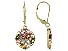 Multi Tourmaline 18K Yellow Gold Over Sterling Silver Earrings. 2.20ctw