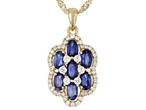 Blue Kyanite 18K Yellow Gold Over Silver Pendant With Chain 2.50ctw