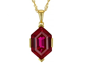 Red Lab Created Ruby 18k Yellow Gold Over Sterling Silver Pendant With Chain 7.65ct