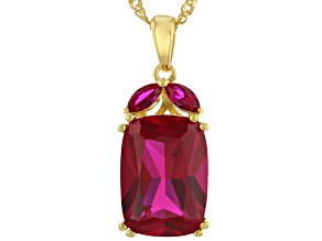 Red Lab Created Ruby 18k Yellow Gold Over Sterling Silver Pendant With Chain 6.57ctw