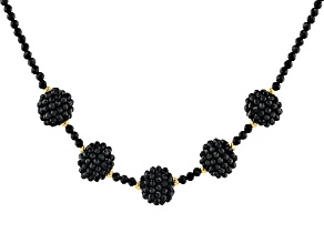 Black Spinel 18k Yellow Gold Over Sterling Silver Necklace 60.00ctw
