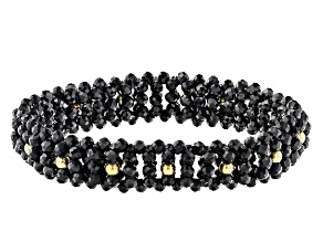 60.00ctw Black Spinel 18k Yellow Gold Over Sterling Silver Stretch Bracelet 60.00ctw