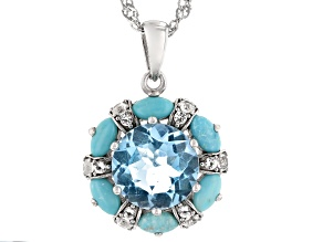 Sky Blue Topaz Rhodium Over Silver Pendant With Chain 4.14ctw