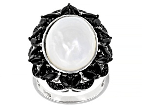 White Mother Of Pearl Rhodium Over Silver Ring 2.13ctw