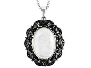 White Mother Of Pearl Rhodium Over Silver Pendant Chain 1.70ctw