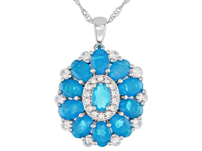 Blue Opal Rhodium Over Silver Pendant with Chain 3.86ctw
