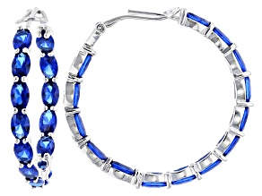 Blue Lab Created Spinel Rhodium Over Sterling Silver Hoop Earrings 10.00ctw