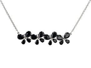Black Spinel Rhodium Over Brass Necklace 12.25ctw