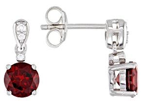 Red Garnet Rhodium Over Sterling Silver Dangle Earrings 2.10ctw