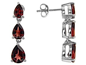 Red Garnet Rhodium Over Sterling Silver Dangle 3-Stone Earrings 4.13ctw